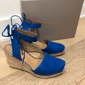 Franco Satro espadrille blue gorgeous wedge shoe 7